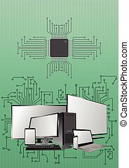 electronic device - illustration of devices with electronic...