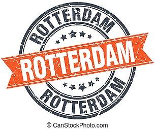 Rotterdam red round grunge vintage ribbon stamp