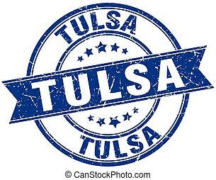 Tulsa blue round grunge vintage ribbon stamp