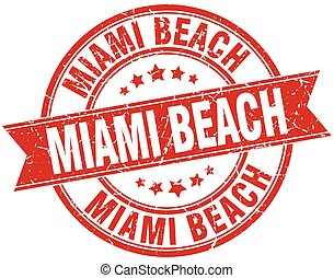Miami Beach red round grunge vintage ribbon stamp