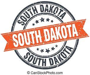 South Dakota red round grunge vintage ribbon stamp