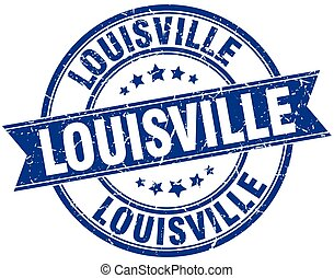 Louisville blue round grunge vintage ribbon stamp