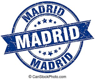 Madrid blue round grunge vintage ribbon stamp