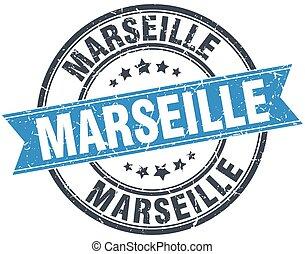 Marseille blue round grunge vintage ribbon stamp
