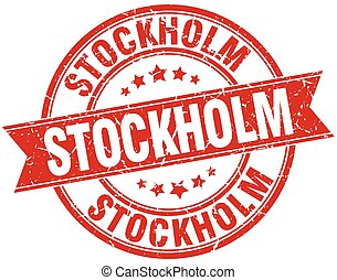 Stockholm red round grunge vintage ribbon stamp