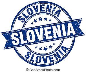Slovenia blue round grunge vintage ribbon stamp