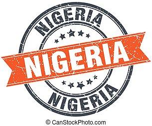 Nigeria red round grunge vintage ribbon stamp