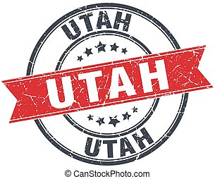 Utah red round grunge vintage ribbon stamp