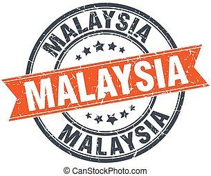 Malaysia red round grunge vintage ribbon stamp
