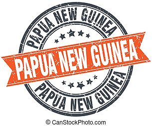Papua New Guinea red round grunge vintage ribbon stamp