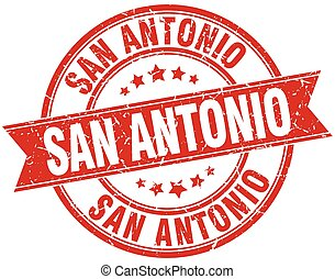 San Antonio red round grunge vintage ribbon stamp