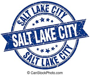 Salt Lake City blue round grunge vintage ribbon stamp