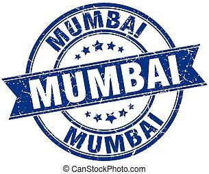 Mumbai blue round grunge vintage ribbon stamp