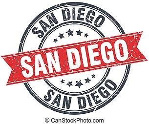 San Diego red round grunge vintage ribbon stamp