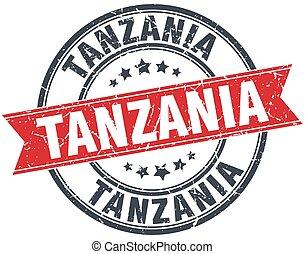 Tanzania red round grunge vintage ribbon stamp