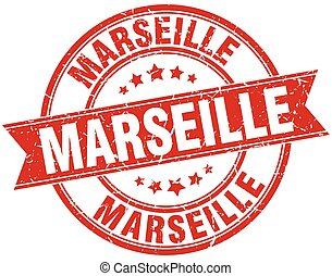 Marseille red round grunge vintage ribbon stamp