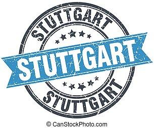 Stuttgart blue round grunge vintage ribbon stamp