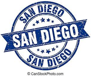 San Diego blue round grunge vintage ribbon stamp