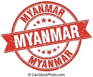 Myanmar red round grunge vintage ribbon stamp