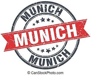 Munich red round grunge vintage ribbon stamp