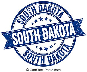 South Dakota blue round grunge vintage ribbon stamp