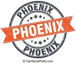 Phoenix red round grunge vintage ribbon stamp