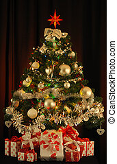 decorated Christmas tree - decorated Christmas tree with...