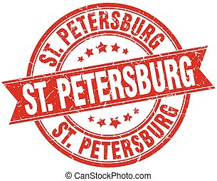 St Petersburg red round grunge vintage ribbon stamp