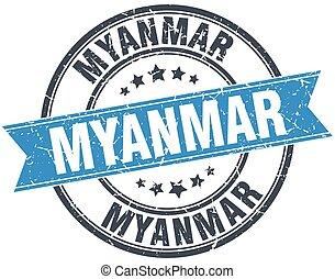 Myanmar blue round grunge vintage ribbon stamp
