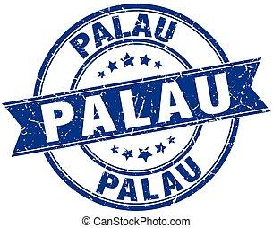 Palau blue round grunge vintage ribbon stamp