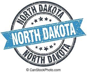 North Dakota blue round grunge vintage ribbon stamp