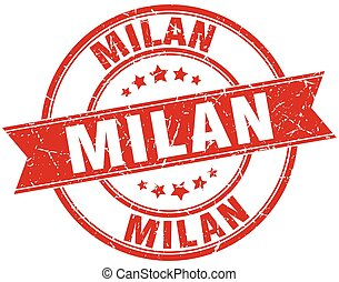 Milan red round grunge vintage ribbon stamp