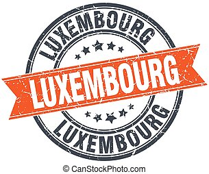 Luxembourg red round grunge vintage ribbon stamp