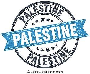 Palestine blue round grunge vintage ribbon stamp