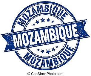 Mozambique blue round grunge vintage ribbon stamp