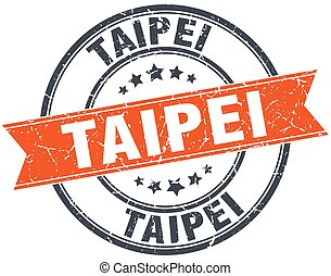 Taipei red round grunge vintage ribbon stamp
