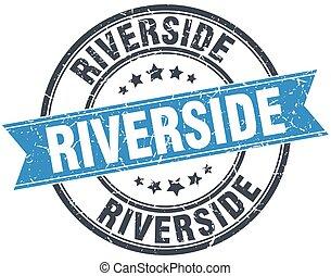 Riverside blue round grunge vintage ribbon stamp