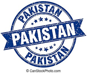 Pakistan blue round grunge vintage ribbon stamp