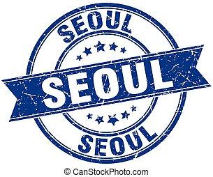 Seoul blue round grunge vintage ribbon stamp