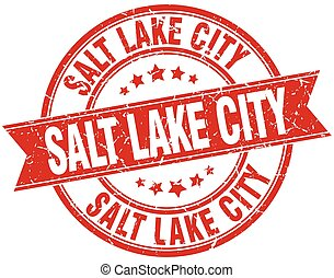 Salt Lake City red round grunge vintage ribbon stamp