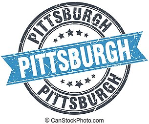 Pittsburgh blue round grunge vintage ribbon stamp