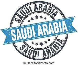 Saudi Arabia blue round grunge vintage ribbon stamp