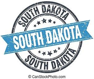 South Dakota blue round grunge vintage ribbon stamp