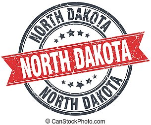 North Dakota red round grunge vintage ribbon stamp