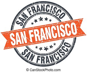 San Francisco red round grunge vintage ribbon stamp