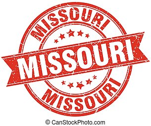 Missouri red round grunge vintage ribbon stamp