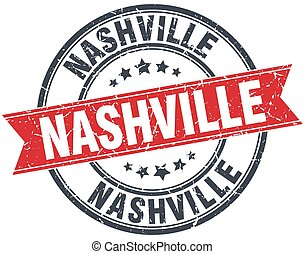 Nashville red round grunge vintage ribbon stamp