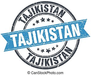 Tajikistan blue round grunge vintage ribbon stamp