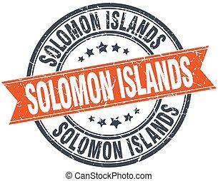 Solomon Islands red round grunge vintage ribbon stamp