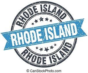 Rhode Island blue round grunge vintage ribbon stamp